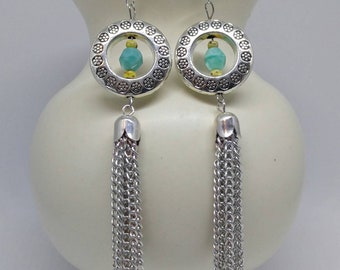 Long Chain Dangle Earrings - Geometric Asymmetrical Earrings - Silver Tassel Earrings - Silver Drop Earrings - Mismatched Earrings