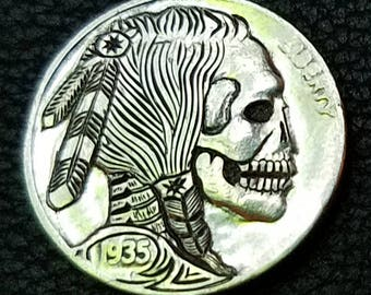 1935 D hand carved hobo nickel featuring an Indian skull