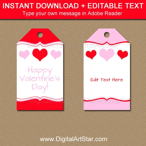 Printable Valentines Day Gift Tag Template Red And Pink Heart