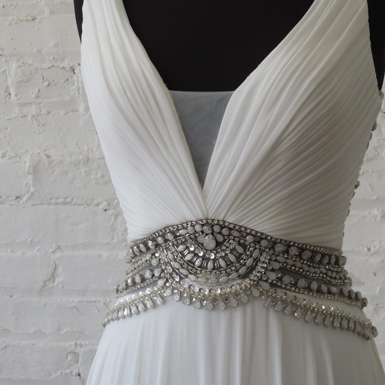 Gatsby Wedding Gown: Flapper Wedding Dress 1920s Art Deco Gatsby Bridal Gown Bling