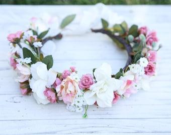 Dusty rose  flower crown,Flower headband, headband, wedding flower crown, bridal flower crown, bohemian flower crown, floral crown