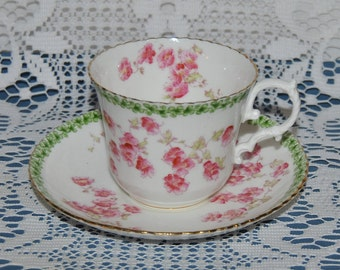 Beautiful Circa 1940's, Aynsley,Pink Flowers, Fine Bone China Teacup And Saucer