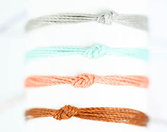 Knot Friendship Bracelet, Waxed Polyester, Layering Bracelets, Stacking Bracelets, Stackable Bracelets