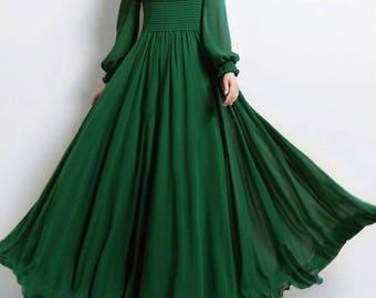Empire Waist Long Green Dress