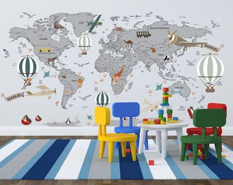 World map decal etsy airplane world map decal clear vinyl decal boys room decals world map mural gumiabroncs Image collections