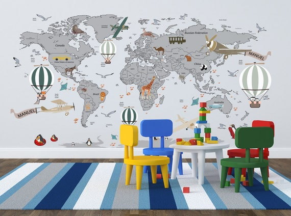 Airplane world map decal clear vinyl decal boys room gumiabroncs Choice Image
