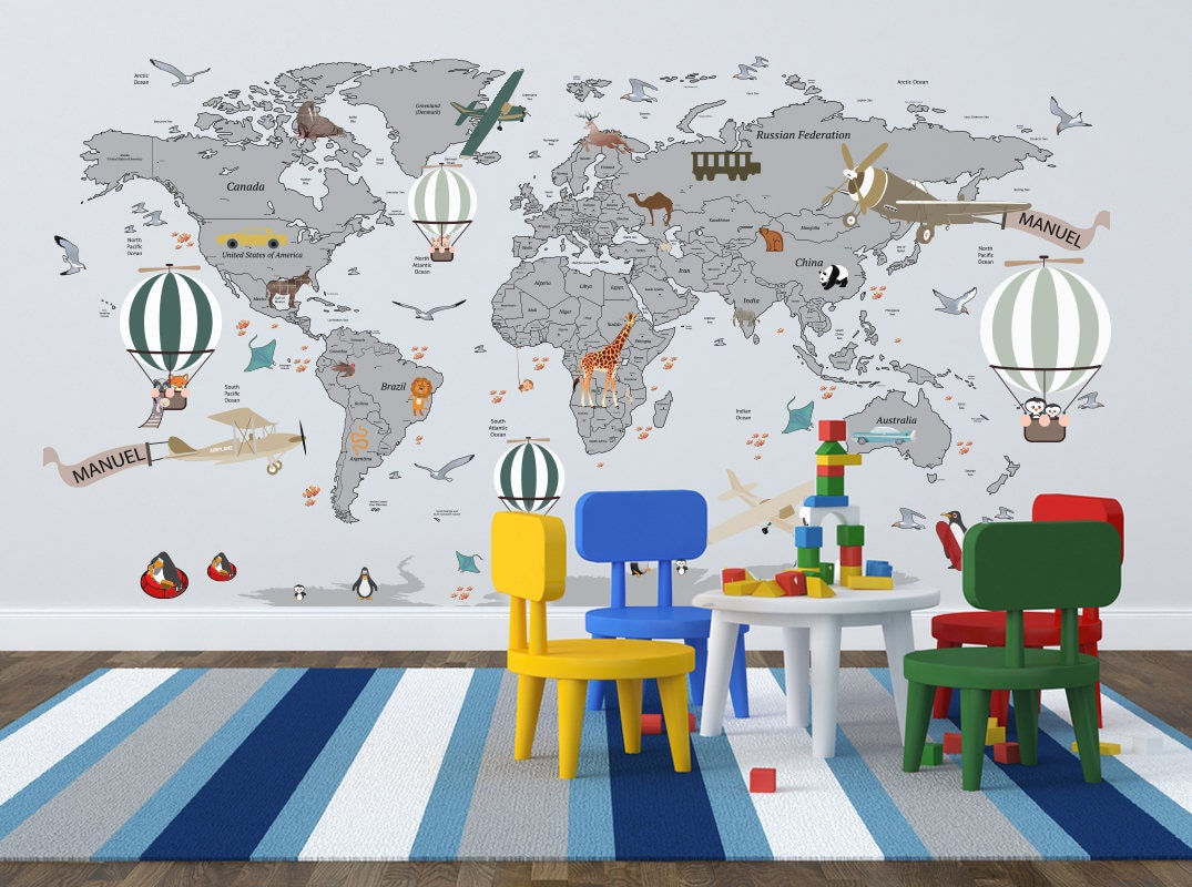 Airplane world map decal clear vinyl decal boys room zoom gumiabroncs Choice Image