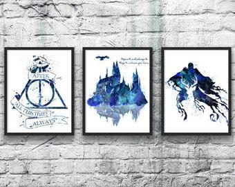 Harry Potter Watercolor Set 3, Hogwarts Castle, Deathly Hallows, Dementor, Movie Poster, Kids Room Decor, Wall Art, Home Decor, Nursery Art