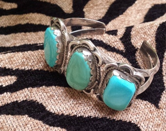 Sterling silver native American turquoise cuff bracelet