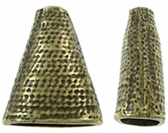 4pc antique bronze cone shape bead cap-9060