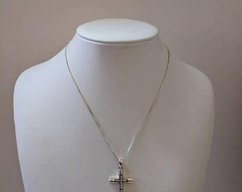 ON SALE Vintage Sterling Silver Necklace with Silver Cross