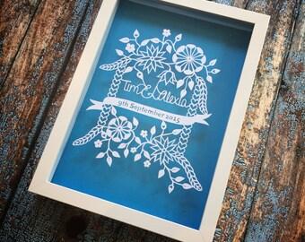 Personalised Wedding / Anniversary, Handmade Papercut Framed