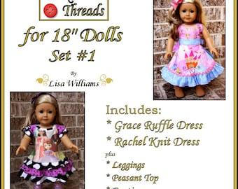 "INSTANT DOWNLOAD: Funktional Threads for 18"" dolls - Set 1 - diy pdf ebook pattern Rachel Knit Dress & Grace Ruffle Dress"