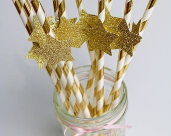 Gold paper straws, gold star paper straws, gold party straws, gold glitter paper straws, twinkle twinkle little star, gold metallic straws