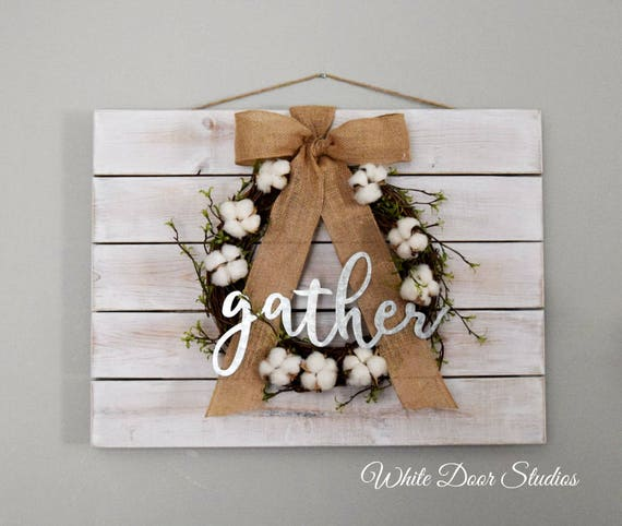 GATHER Wall Hanging with Cotton Wreath