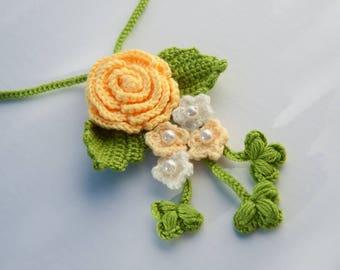 Handmade Crochet Necklace Flower Power Hippie Boho Bohemian Jewelry Large Christmas Gift