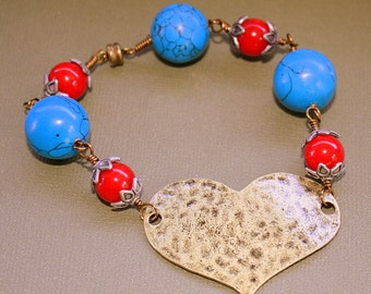 Hammered Heart Bracelet - Wire Wrapped Bead Chain - Acrylic Beads - Magnetic Clasp - Red Blue
