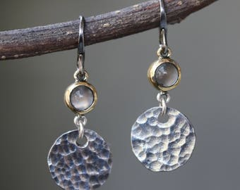 Round cabochon moonstone earrings in brass bezel setting with circle silver hammer textured and oxidized sterling silver hooks(FBA)