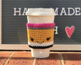 Pencil Cup Cozy, Pencil Crochet Cup Sleeve