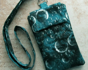 Celestial Sky iPhone Neck Pouch Lanyard Teal Blue Moon Cell Phone iPod
