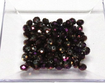 4x6mm Metallic Purple Faceted Crystal Rondelle Beads 4x6mm crystal 6mm crystal rondelle #4x6MPCC