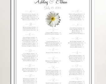 White Daisy Seating Chart for Table Assignments for your Wedding Reception - Printable PDF File