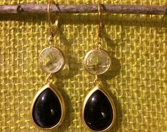 Crystal & Black Glass Teardrop Earrings in Matte Gold