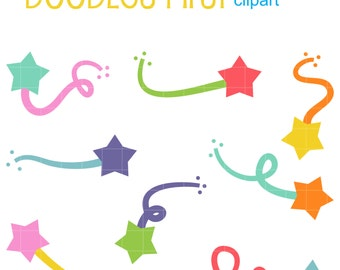 Colorful Shooting Stars Digital Clip Art for Scrapbooking Card Making Cupcake Toppers Paper Crafts