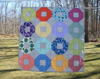 Colorful Shoo-fly lap/baby quilt
