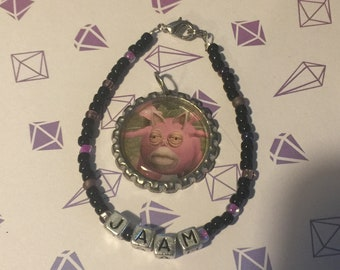 Oops! Monster Factory Ja'am bracelet and pendant. Clearance, jewelry, necklace, bottlecap, polygon, mbmbam, griffin mcelroy, fandom, merch.