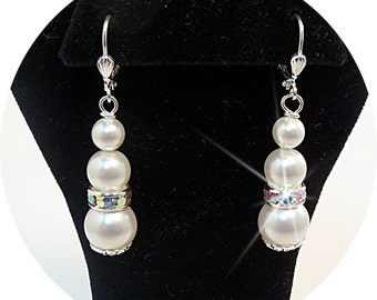 Bridal Earrings,  Pearl Earrings, Pearl and Rhinestone Earrings, Bridesmaid, Wedding, Dressy