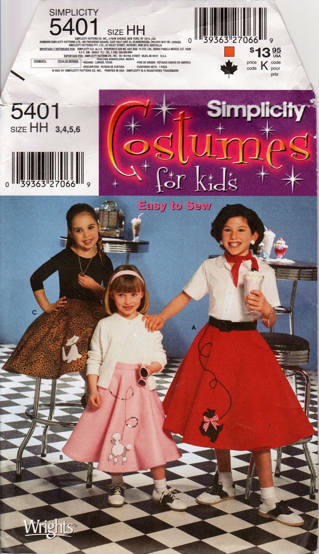 Description Girls Poodle Skirt Childs Circle 1950s Pattern SIMPLICITY