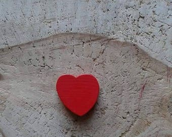 Red heart wood bead