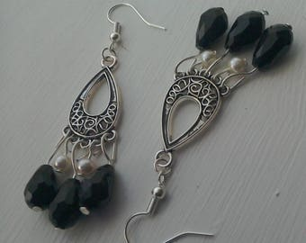 Black Gothic Chandelier crystal and glass pearl silver earrings