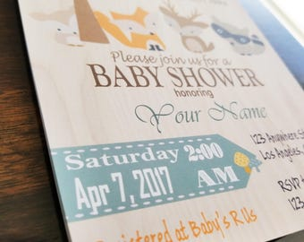 FREE SHIPPING - Woodland Baby Shower Invitation, Woodland Baby Shower Invite, Baby Shower Invitation Woodlands
