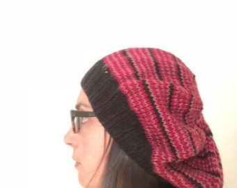 Striped Comfy Beanie - Red/Pink/Black