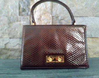 vintage  Kelly Bag 1960s Faux Alligator Skin Boxy Handbag