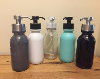 Foaming Soap Dispenser - Inspired by the Vintage Milk Bottle - 16oz Glass Bottle with Stainless Soap Pump For Foaming Soap