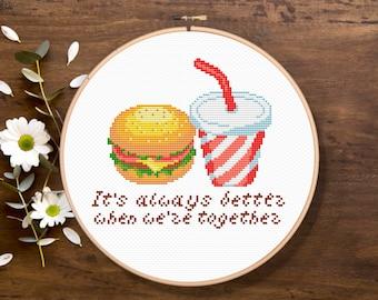 Hamburger and Cola, It's always better when we're together, Kitchen Cross Stitch, Modern Cross Stitch Pattern, Download PDF #fd023