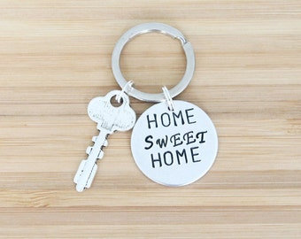 hand stamped keychain   home sweet home