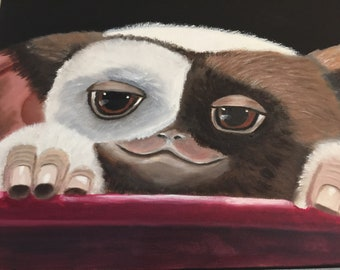 Gizmo oil painting on canvas, original oil painting,