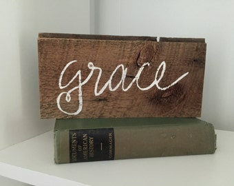 grace sign, reclaimed wood sign