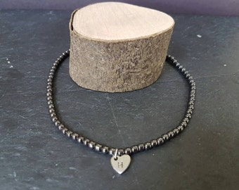 Hematite personalised choker with handstamped initial charm