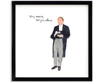 """Very Amusing, Lawyer Limited Edition Archival Prints by Simon Schneiderman Framed 18"""" x 18"""""""