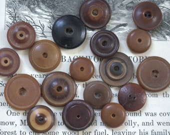 Antique Whistle Buttons x 18 Vegetable Ivory
