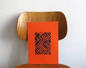 Print-framed-linol picture orange-Black