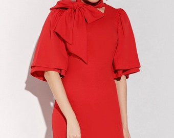 Evening red short dress with strings and sleeves-flounces Graduation Office dress for women