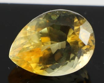Citrine 13.85ct,13th Wedding Anniversary Gem,November Birthstone,Pear Shape,VVS/IF Clarity,Sourced from The Congo