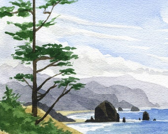 Haystack Rock Cannon Beach art print, Oregon coast watercolor painting, Ecola Point Oregon coastal beach decor, Oregon ocean artwork