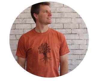 Tree Tshirt, Cotton Crewneck Mens T shirt,  Tee Shirt, Rust, Gifts for Him, Hand Printed, Screenprinted, Rustic Camping Tshirt Nature summer